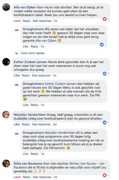 Klanten reacties FB